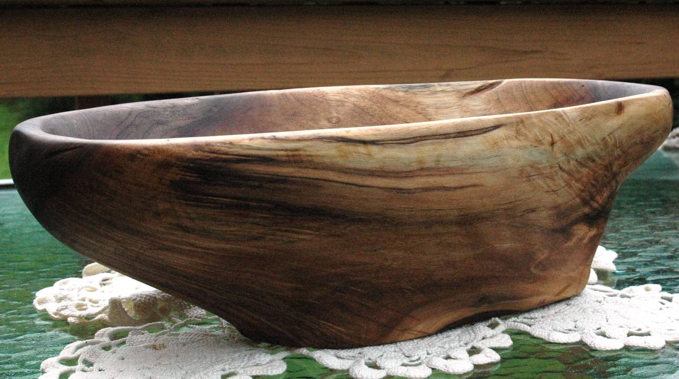 Hand Carved Black Walnut Bowl